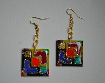 Colorblock Handpainted Resin Earring,Gifts for her, Quirky, best selling product