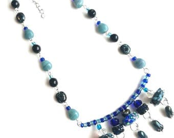Deep blue necklace  jewelry lampwork glass seed beads flowers boho necklace gift for herMom silver pendant beaded handmade unique exquisite