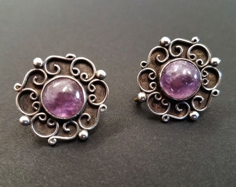 Vintage Taxco SERAFIN MOCTEZUMA Sterling Silver With Amethyst Earrings - Filagree Flower Motif - Circa 1940
