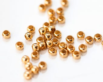 2759_ Gold crimp beads 2.5 mm, Small brass beads, Jewelry crimps, Bead crimps, Round crimp tubes, Crimping bead, Jewelry crimp beads _100pcs