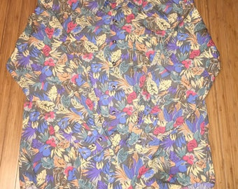 Vintage 90s GAP Button Shirt size Large Floral print elephant hipster rare polo