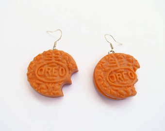 orange gold polymer clay cookie earrings