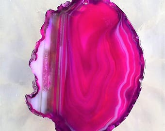 Natural Druzy Geode Agate Slice Candy Pink. 62x45x5 mm. MMA