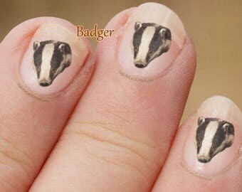 Badger Nail Art Stickers, wild animal, black and white, Fingernail Stickers, Decals, Brock, Badger decals