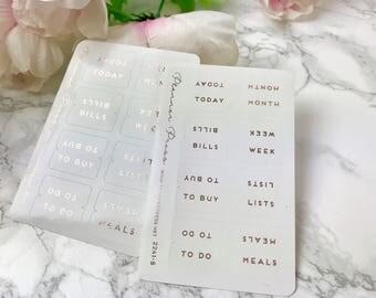 Rose Gold Foiled Tab Stickers - Fits Erin Condren, KikkiK, Filofax Planners and Midori Notebooks 2241