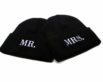 Mr and Mrs Beanies, Mr and Mrs Hats, Mr and Mrs, Couple Hats, Embroidered Beanies, Beanies with Words