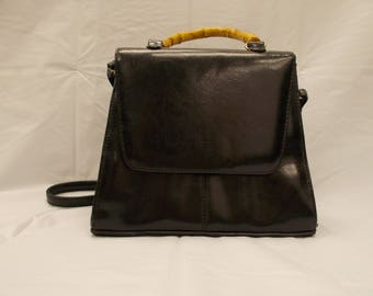 Vintage patent leather cross body bamboo handle