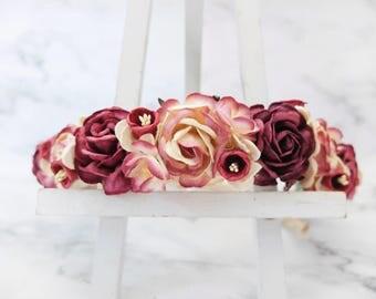 Red burgundy flower crown - rose crown - floral hair wreath - flower headpiece - flower hair accessories