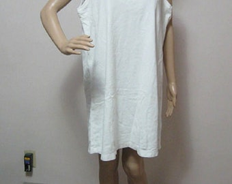 LANDS' END Misses M White Stretchy Terry Dress Sleeveless Shift Dress or Bathing Suit Cover Up See Details FREE Shipping