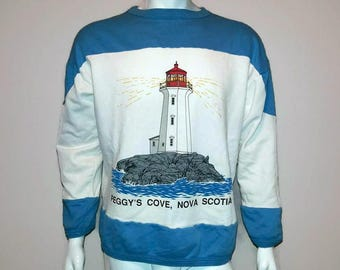 Vintage Nova Scotia Sweater Peggy's Cove - Crew neck - Lighthouse sweatshirt - Color Blue and white