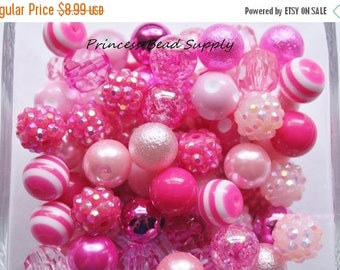 SALE Shades of Pink 12mm Bead Mix,  100 12mm Chunky Bulk Beads, 12mm Bulk Bead Mix,  12mm Mini Chunky Beads  100 Gumball Beads Wholesale Bea