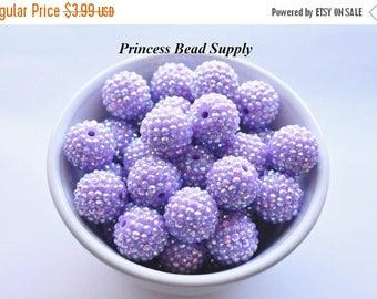 SALE 20mm Lavender Purple AB Rhinestone Chunky Beads Set of 10, Light Purple Bubble Gum Beads, Gumball Beads, Acrylic Beads