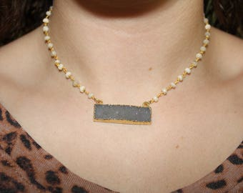 Gray Druzy Necklace on White Beaded Chain
