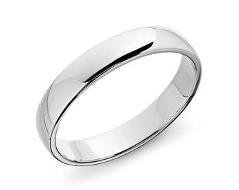 Classic Wedding Ring in Platinum - 4mm Wide -  14K Solid White or Rose Gold (4mm) - Classic Men's 4mm Wedding Band - Low Profile