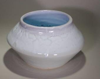 Large Rustic Light Blue Gray Wheel Thrown Stoneware Ceramic Kiva Style Jar.