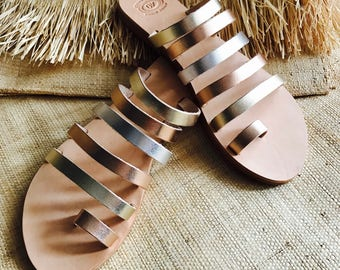 Leather sandals, Gold sandals, Strappy sandals, Greek sandals, Gold leather sandals, Strap sandals