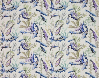 MANUEL CANOVAS TROPICAL Fish Indoor Outdoor Toile Fabric 10 Yards Blue Lavender Multi