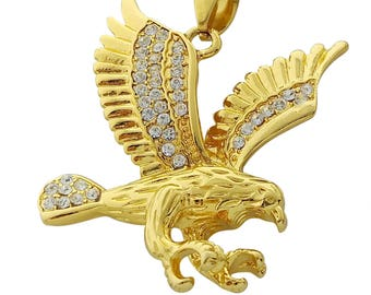 Gold eagle pendant etsy 18k gold plated stainless steel eagle pendant necklace with 24 rope chain aloadofball Images