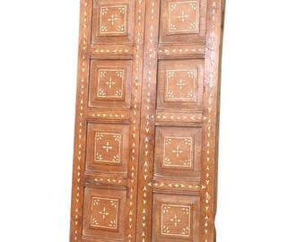 Small Anglo Indian Bone Inlay Door, Indian Door, Bone Inlay Clodet door, Antique Kitchen door, Antique door, Bone Inlay Door, Moroccan Door