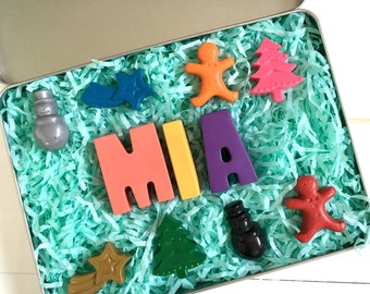 Personalised Christmas Crayon Gift Tin | Stocking Filler | Christmas Eve box | Christmas gift | Christmas Crayons | Name Crayons | Novelty