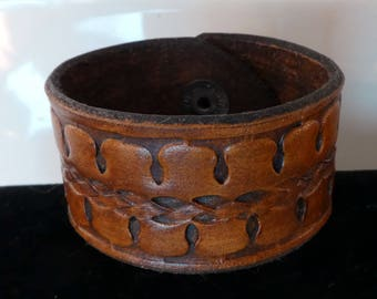 Hand Stamped Leather Cuff Bracelet
