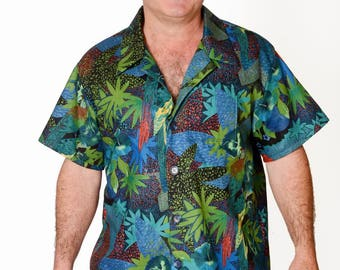 Feak Shirt for Men Tropical Rainforest Print, Hawaiian Shirt, Hawaiian Shirt Men, Mens Hawaiian Shirt, Tropical Rainforest Shirt
