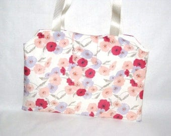 Pastel and red poppies 38 x 28cm pattern tote bag