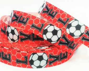 "7/8"" inch LOVE SOCCER Red with Soccer Net Sports Printed Grosgrain Ribbon for Hair Bow - Original Design"