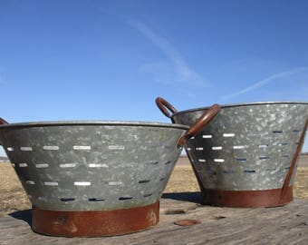 2 Galvanized Olive Buckets, Wash Basket Can, Rustic Farm Country Decor a, Galvanized Vintage Olive Buckets, Olive Basket, Metal Baskets