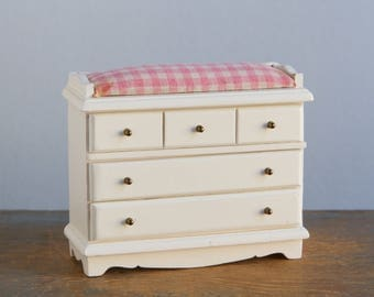 Wooden Changing Table Dresser with Drawers - 1:12 Scale Vintage Dollhouse Nursery Furniture