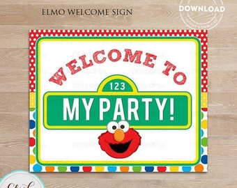 50% OFF SALE Elmo Welcome Sign, Birthday Sign, Birthday Party Sign, Door Sign Birthday party decorations INSTANT Download