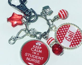 Personalised student nurse, Student nurse keyring, Student nurse gift, Student Nurse keychain