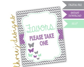 Butterfly Baby Shower Favor Table Sign - INSTANT DOWNLOAD - Gray, Lavender and Mint - Digital File - J005