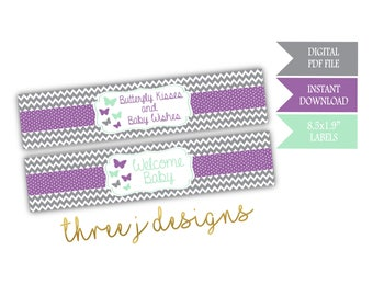 Butterfly Baby Shower Water Bottle Labels - INSTANT DOWNLOAD - Gray, Lavender and Mint - Digital File - J005