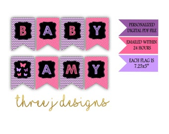 Butterfly Baby Shower Personalized Baby Banner - Purple and Pink - Digital File - J002