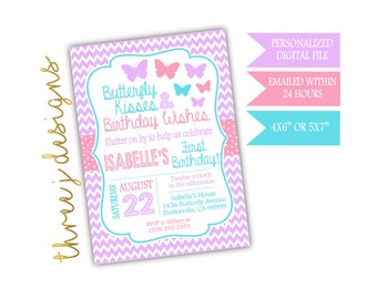 Butterfly Birthday Party Invitation - Bright Purple, Pink and Blue - Digital File - J011