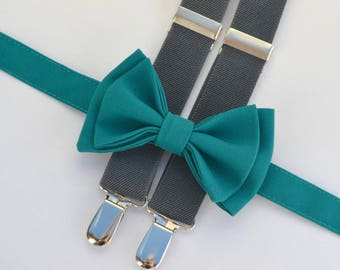 Teal Bow Tie & Charcoal Gray Suspenders -- Ring Bearer Outfit -- Bow Tie Suspenders for Groom and Groomsmen
