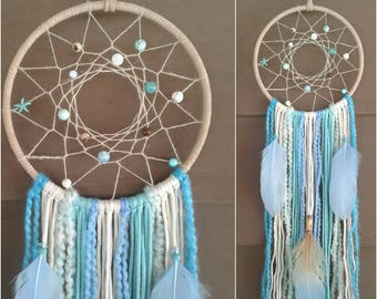 Blue Dream catcher, Beach Dreamcatcher, Boho Dream catcher, Blue and White Dreamcatcher, Beach Decor, Nursery Dreamcatcher, Wall Hanging.