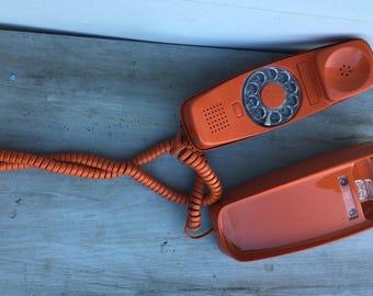 Orange Rotary Phone | Vintage Rotary Telephone | Retro Orange Phone | Mod Rotary Phone | Western Electric
