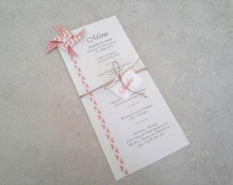 Menu and mark up windmill origami patterned dots peach - light orange chevron for table decoration