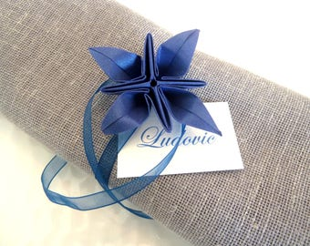 10 napkin ring marks instead for wedding table decoration - blue iridescent paper - organza Ribbon flower - origami