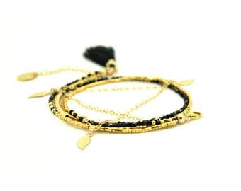 Bracelet 2 laps gold-filled gold 24 k black AGATE.