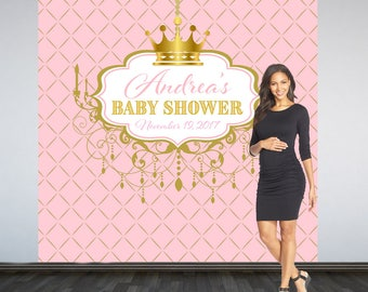 Royal Princess Baby Shower Backdrop- Royal Baby Shower Photo Booth Backdrop- Welcome Baby Shower Backdrop, Pink Princess Backdrop