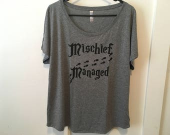 Mischief managed shirt// Dolman style draped fit, Womens shirt, Harry Potter shirt, Mischief managed, Marauders map shirt, Harry Potter