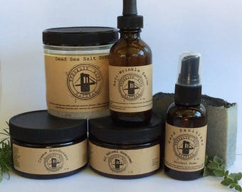 PACKAGE DEAL - Today only! Anti wrinkle serum, natural deodorant, sunscreen, hand sanitizer, salt scrub, black salt soap