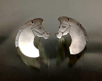 Horses earrings 925 sterling silver |Horse head earrings |Animal earrings |Horses stud earring |Ancient greek earring |Ancient greek jewelry