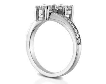 5.10 CT Real Round Cut Diamond Engagement Ring 14K White Gold F/SI1