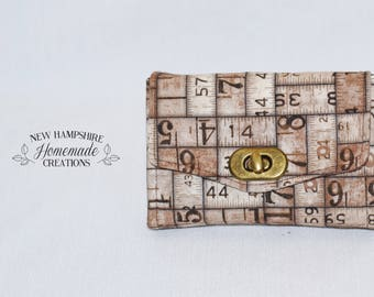 The Mini Necessary Clutch Wallet - NCW - Ruler Fabric