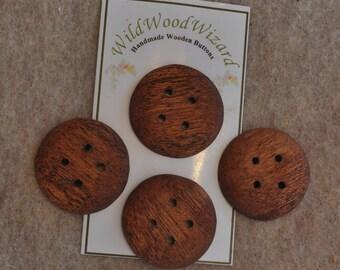 """1.25"""" Mahogany - 6 buttons - Handmade Round - Mahogany - 4 buttons"""