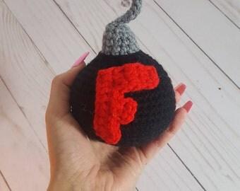 F Bomb, Crochet F Bomb, Gag gift, Funny Gift, Crochet Gag toy, Amigurumi F-Bomb, F Bomb toy, stuffed f bomb, curse bomb, cuss bomb